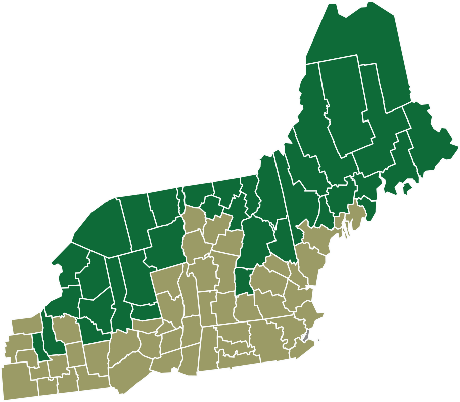 Northern Border Region map showing Maine, Vermont, New Hampshire and New York